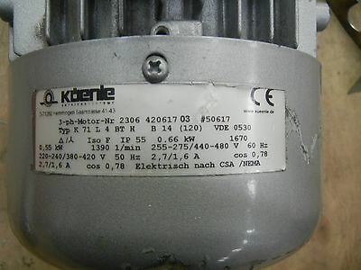 Kuenle 3-ph-motor and ZAE gear reducer M0D0SC-26:1