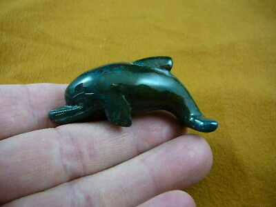 (Y-DOL-SW-712) TEAL green SWIMMING DOLPHIN gemstone STONE FIGURINE PORPOISE BABY