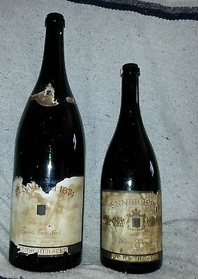 LOT OF 2 ANTIQUE 1874 WINE BOTTLES  ART DECO  GREEN TINTED GERMAN GLASS BOTTLE