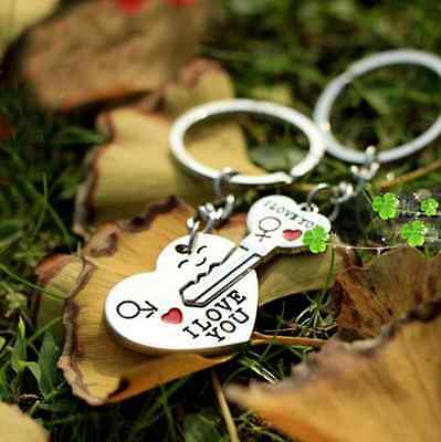 Couple Forever Open your heart Lover Romantic KeyChain Keyring Set KeyFob Gift