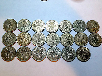 Great Britain Lot Of 20 Diff Date 2 Shilling Florins Higher Grade Collection