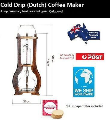 Cold Drip Coffee Maker Oakwood 4 Cups Heat Resistant Glass BD-7