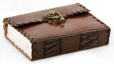 Small Leather HANDMADE BLANK BOOK Journal Diary Poetry w/ Latch 3.5 x 5 Unlined
