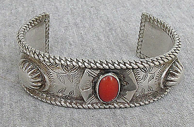 ANTIQUE ISLAMIC CORAL MASSIVE SILVER CUFF BRACELET 91gr. SIGNED ENGRAVING