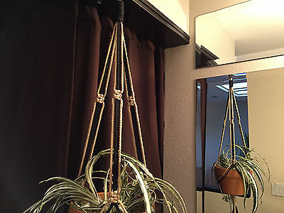 "MACRAME PLANT HANGER  Black and Sand  35"" 40"" 50"" 60"""
