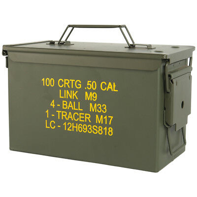 Mil-Tec M2A1 Cal.50 Us Army Ammo Steel Box Range Storage Tool Container Olive