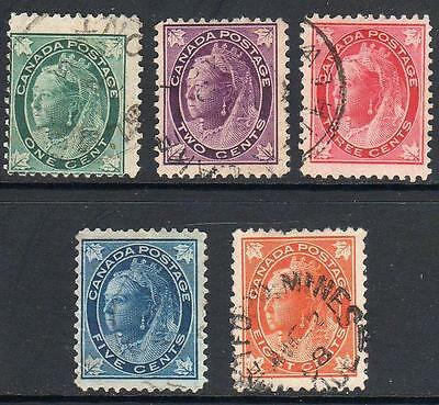 CANADA   1897-98  Group of 5   Fine Used  No Hidden Faults  Sound Stamps