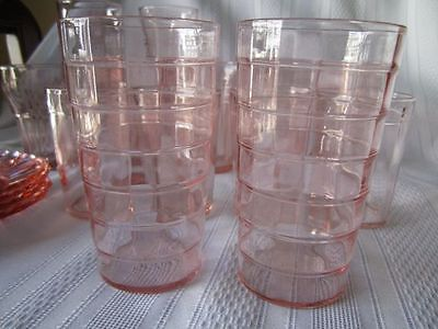 (2)  Pink Depression Glass Block Optic, Block, 5 Inch Flat Tumblers
