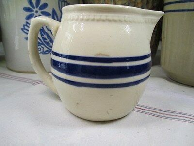 Vintage Weller Yellow Ware Stoneware Blue Banded Pitcher Creamer Beaded Rim