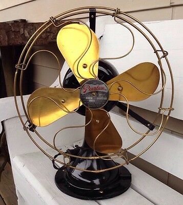 """Vintage Peerless 1920c 12"""" Electric Oscillating Fan Model BB2- Working Condition"""