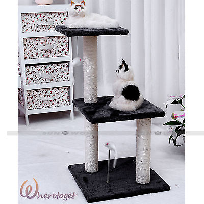 Cat Tree Climb Activity Centre Tall Scratching Sisal Post Scratcher House Bed UK