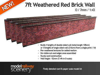 7ft RED BRICK WALL PRE-CUT CARD KIT- O GAUGE / O SCALE MODEL RAILWAYS 7mm 1:43