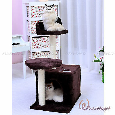 Cat Scratching Post Tree Furniture Kitten Condo Pole Bed Activity Centre Coffee