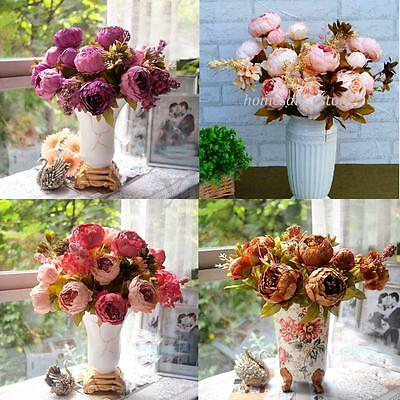 1 Bouquet 8 Head Artificial Peony Silk Flower Leaf Home Wedding Party Decoration