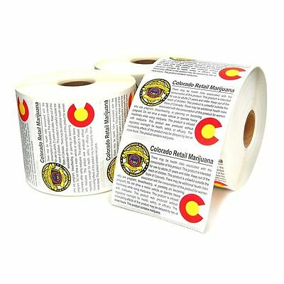 NEW COLORADO STATE Retail Compliant Marijuana Labels 100 PCS 420 USA
