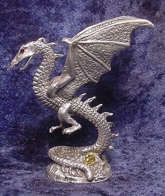 Pewter GALLO SPIRALING DRAGON with CRYSTAL -- RETIRED!