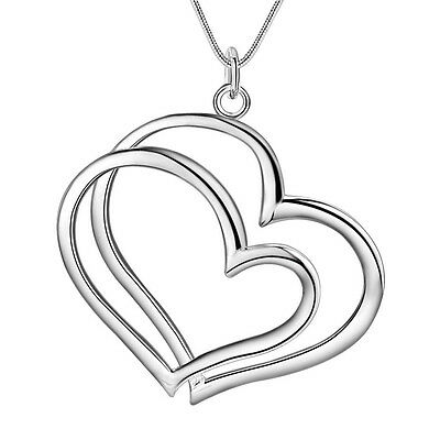 -UK- Silver Plated Double Interlocking Love Heart Pendant Necklace- Chain: 45cm