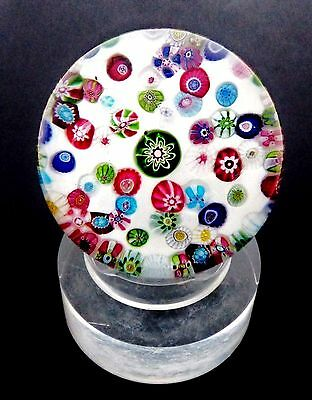 LARGE ANTIQUE CLICHY LOOPED PATTERN MILLEFIORI ON SODDEN SNOW GROUND PAPERWEIGHT