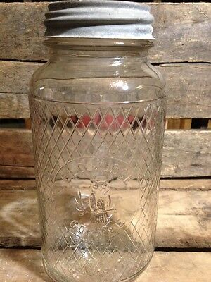 1940's Old Judge Coffee Jar Embossed Owl Country Store Zinc Lid Kitchen Decor