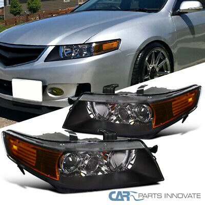 04-05 Acura TSX 4Dr Sedan Replacement Black Projector Headlights Headlamps Pair