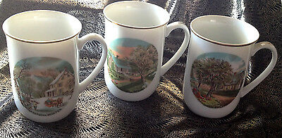 LOT of 3--Armbee China Currier and & Ives Four Season Coffee Mugs, Cups, Vintage