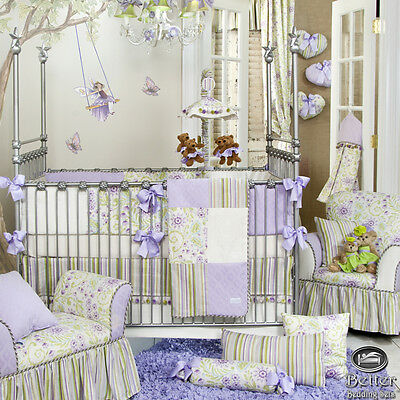 Baby Girl Green White Lavender Shabby Chic Floral Crib Nursery Quilt Bedding Set
