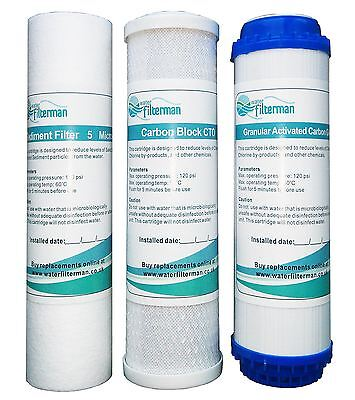 3 Pre Filters for Reverse Osmosis Water Filters, Replacement RO Filter Set - New
