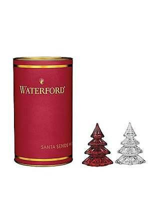 Waterford Crystal Giftology Mini Christmas Trees Red & Clear SET / 2 - NEW /BOX!