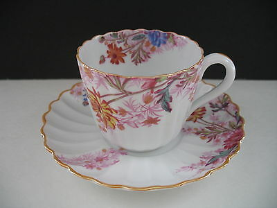 Spode CHELSEA GARDEN Mustard Trim Cup & Saucer -In Red / Out Bud Up