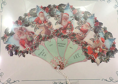 VINTAGE INSPIRED VICTORIAN PAPER FAN GREETING CARD CHRISTMAS HOLIDAY SANTA HOLLY