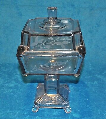 Victorian Etched Glass Compote, 1900s, Light Lavender