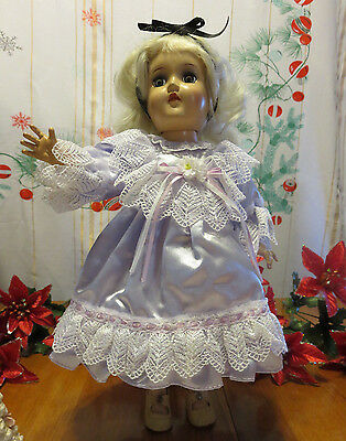 "VICTORIAN SATIN  DOLL INDIGO WITH WHITE LACE DRESS FOR 14"" TO 16"" DOLL VICTORIAN"