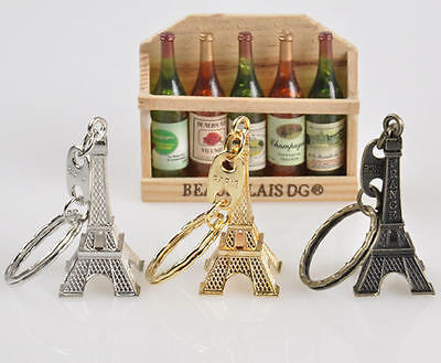 Retro Cute Keychain Keyring Keyfob Mini Paris Eiffel Tower 3Pc Set Multi-Color