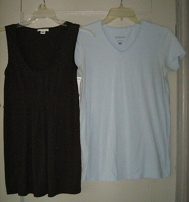 LOT OF 2 TOPS BY MOTHERHOOD,  BLUE/CHARCOAL GREY,  SIZE SMALL