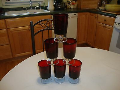 Six Vintage Ruby Red Glasses/Stemware France Arcoroc