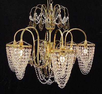 "ELEGANT! VINTAGE BRASS ` GOLD CRYSTAL 27"" x 24""  CHANDELIER ~ 6 LIGHTS ~ SPAIN"