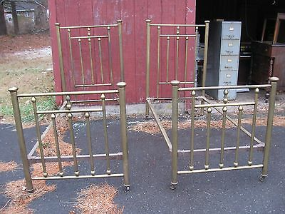 Antique Pair of Matching  Twin Brass Beds Could Make a King Sz Bed