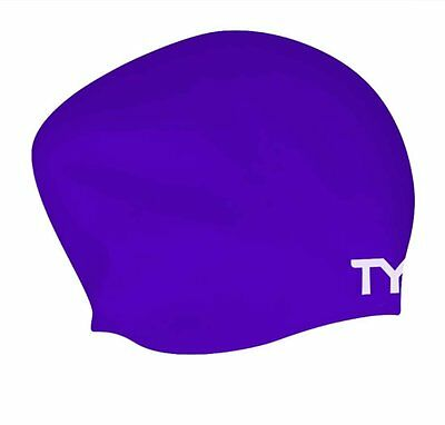 TYR Long Hair Silicone Swim Cap Purple Swimming Caps One Size Fits Most