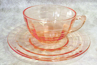 PINK Depression Glass BLOCK OPTIC Hocking CUP & SAUCER Set ELEGANT Vintage LOT