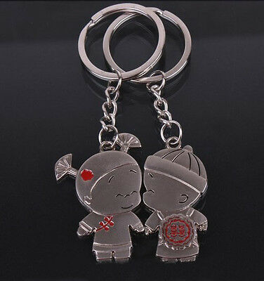 A couple keychain Fashion Metal couples keychains Key Ring for lover F001