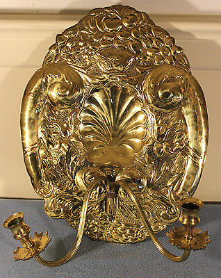 Pair Double Baroque Repousse Reflector Backplates Brass Sconces Candle Holder