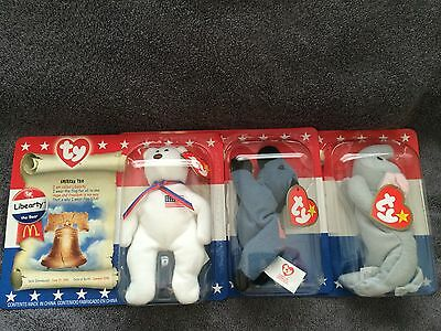 """TY BEANIES BABIES """"AMERICAN TRIO"""" COLLECTION OF 1996 PATRIOTIC BEANIES NWT"""