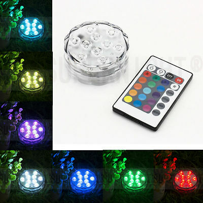 Submersible 10 LED Waterproof Light RGB for Vase Wedding Decors Party Fish Tank