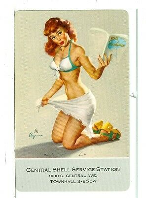 """Single Vintage Playing Card Pin-Up Elvgrin Art Ad """"Central Shell Service"""""""
