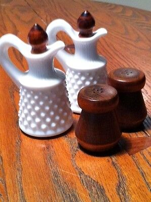 VINTAGE MILK GLASS OIL AND VINEGAR CRUETS WITH SALT AND PEPPER SHAKERS