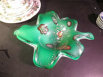 Large Murano Glass Leaf Shape Bowl Green & White Case Glass & Silver
