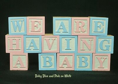 Baby Name Wooden Alphabet Blocks - 17 LETTERS - Custom Letters, Baby Photo Props