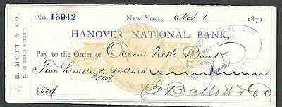1871 NY HANOVER NATL BANK REVENUE STAMPED PAPER RN-C1 CUT CANCEL