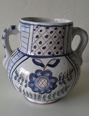 Blue and White Handpainted Ceramic Jug Made In Portugal