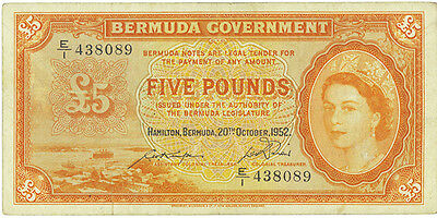 Bermuda 5 Pounds 1952 (rare date)  Pick 21a   VF